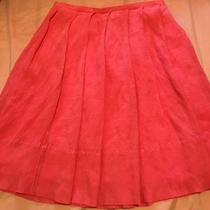 J Crew pleated crepe silk skirt in coral pink